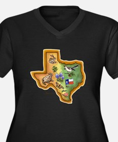 Texas Symbols Women's Plus Size V-Neck Dark T-Shir