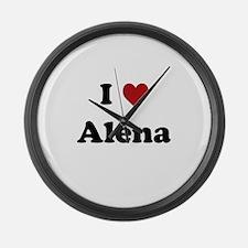 I love Alena Large Wall Clock