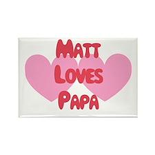 Matt Loves Papa Rectangle Magnet