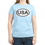 United States - USA - Oval Women's Pink T-Shirt