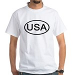 United States - USA - Oval Premium White T-Shirt