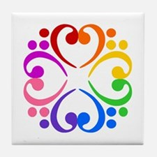 Bass Clef Flower Tile Coaster