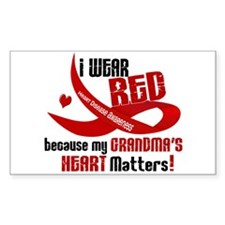 Red For Grandma Heart Disease Rectangle Decal