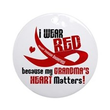 Red For Grandma Heart Disease Ornament (Round)