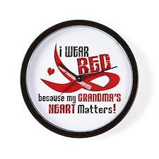 Red For Grandma Heart Disease Wall Clock