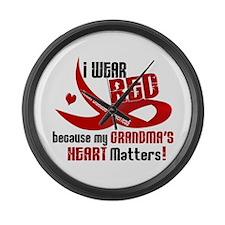 Red For Grandma Heart Disease Large Wall Clock