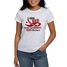 Red For Grandpa Heart Disease Shirt Tee