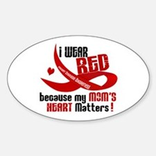 Red For My Mom Heart Disease Oval Decal