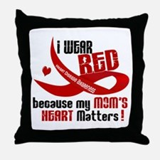 Red For My Mom Heart Disease Throw Pillow