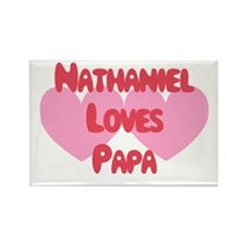 Nathaniel Loves Papa Rectangle Magnet