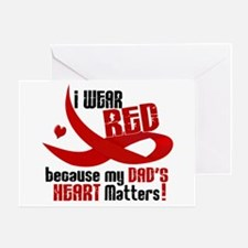 I Wear Red For My Dad Heart Disease Greeting Card