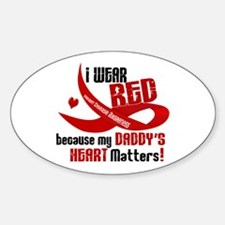 Red For My Daddy Heart Disease Oval Decal