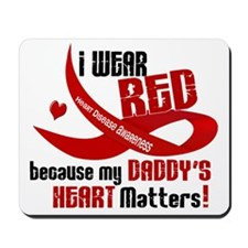 Red For My Daddy Heart Disease Mousepad