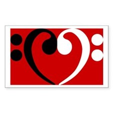 Bass Clef Heart Rectangle Decal