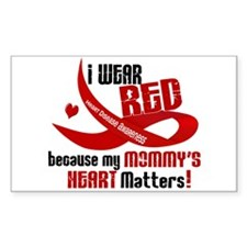 Red For My Mommy Heart Disease Rectangle Decal