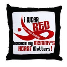 Red For My Mommy Heart Disease Throw Pillow
