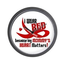 Red For My Mommy Heart Disease Wall Clock