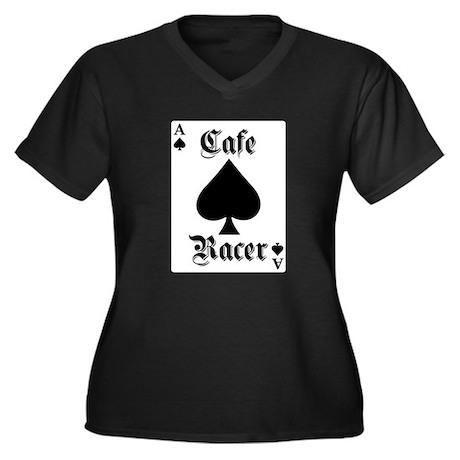Ace of Spades Women's Plus Size V-Neck Dark T-Shir