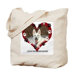I Love my White German Shephe Tote Bag