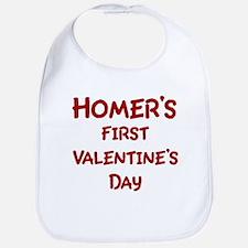 Homers First Valentines Day Bib