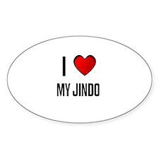 I LOVE MY JINDO Oval Decal