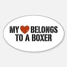My Heart Belongs to a Boxer Oval Decal