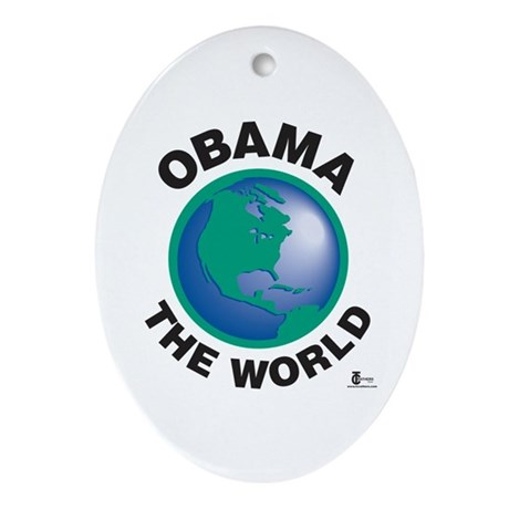 Obama The World Oval Ornament