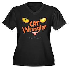 Cat Wrangler Women's Plus Size V-Neck Dark T-Shirt
