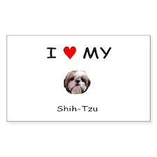 I Heart My Shih Tzu Rectangle Decal