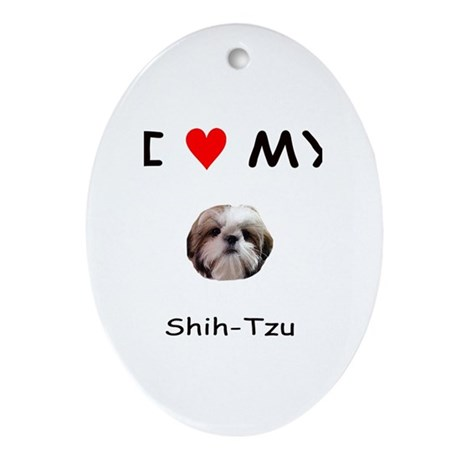 I Heart My Shih Tzu Oval Ornament