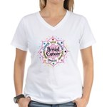 Breast Cancer Lotus Women's V-Neck T-Shirt