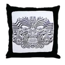 Maori Tattoo-silver Throw Pillow