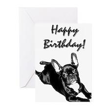 Happy Birthday French bulldog Greeting Cards (Pk o