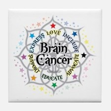 Brain Cancer Lotus Tile Coaster