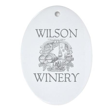 Wilson Last Name Vintage Winery Oval Ornament