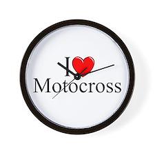 """""""I Love (Heart) Motocross"""" Wall Clock"""