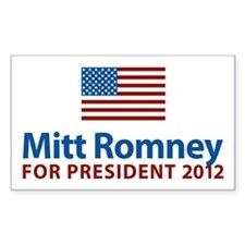 Mitt Romney American Flag Rectangle Decal