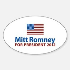 Mitt Romney American Flag Oval Decal