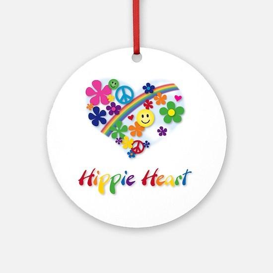 Hippie Heart Ornament (Round)
