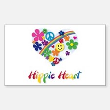 Hippie Heart Rectangle Decal