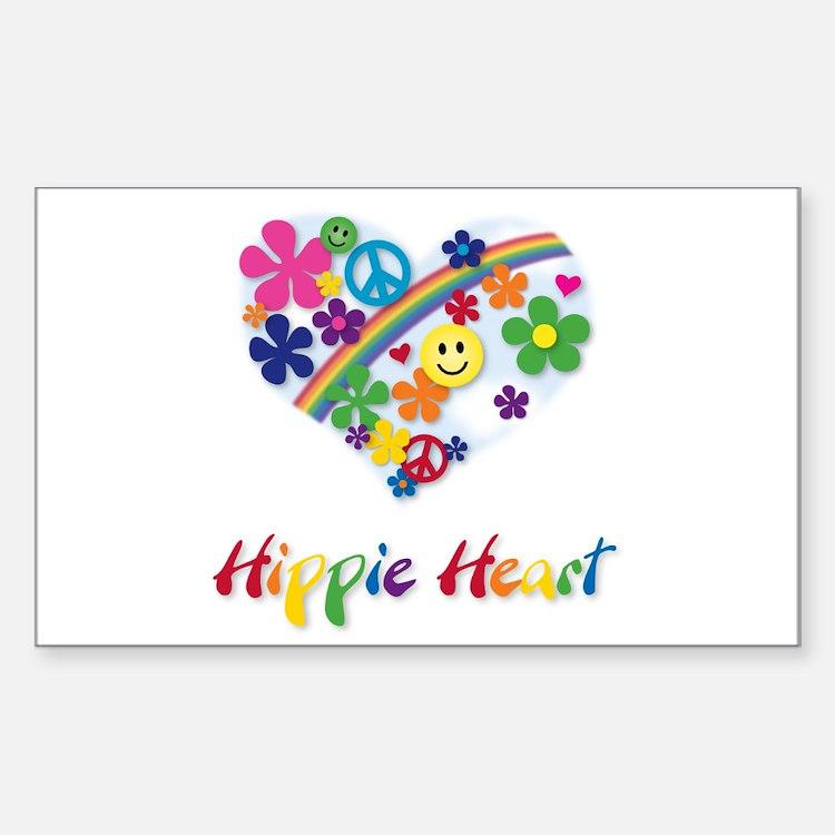Hippie Heart Rectangle Decal