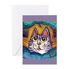 Fun Happy Purple Cat Greeting Card