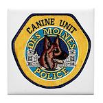 Des Moines Police K9 Tile Coaster