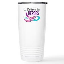 I Believe In Heroes THYROID CANCER Travel Mug