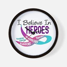 I Believe In Heroes THYROID CANCER Wall Clock