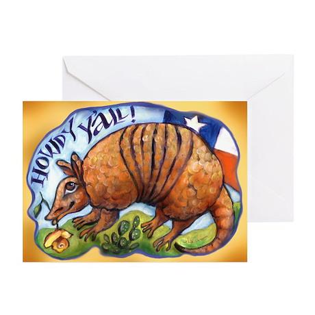 Armadillo Texas Howdy Greeting Cards (Pk of 10)