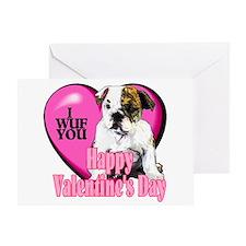 Bulldog Valentines Greeting Card