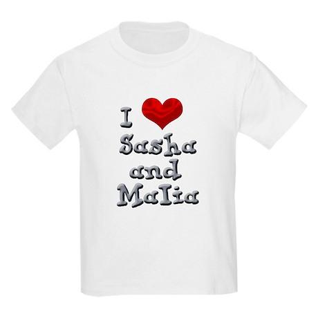 I Love Sasha and Malia Kids Light T-Shirt