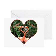 Helaine's Flamingos Green Greeting Card