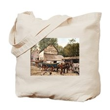 Farmyard Scene USA 1900 Tote Bag